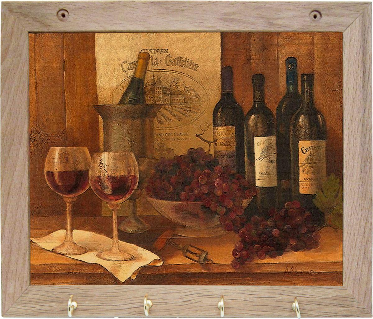 Вешалка GiftnHome Винтажные вина, с 4 крючками, 20 х 25 см1004900000360Вешалка GiftnHome Винтажные вина в стиле Art-Casual изготовлена из натурального дерева в комбинации с модными цветными принтами на корпусе от Креативной студии AntonioK. Вешалка снабжена 4 металлическими крючками для подвешивания аксессуаров, полотенец, прихваток и другого текстиля. Это изделие больше, чем просто вешалка, оно несет интерьерное решение, задает настроение и стиль на вашей кухне, столовой или дачной веранде. Art-Casual значит буквально повседневное искусство. Это новый стиль предложения обычных домашних аксессуаров в качестве элементов, задающих стиль и шарм окружающего пространства. Уникальное сочетание привычной функциональности и декоративной, интерьерной функции - это актуальная, современная тенденция от прогрессивных производителей товаров для дома.
