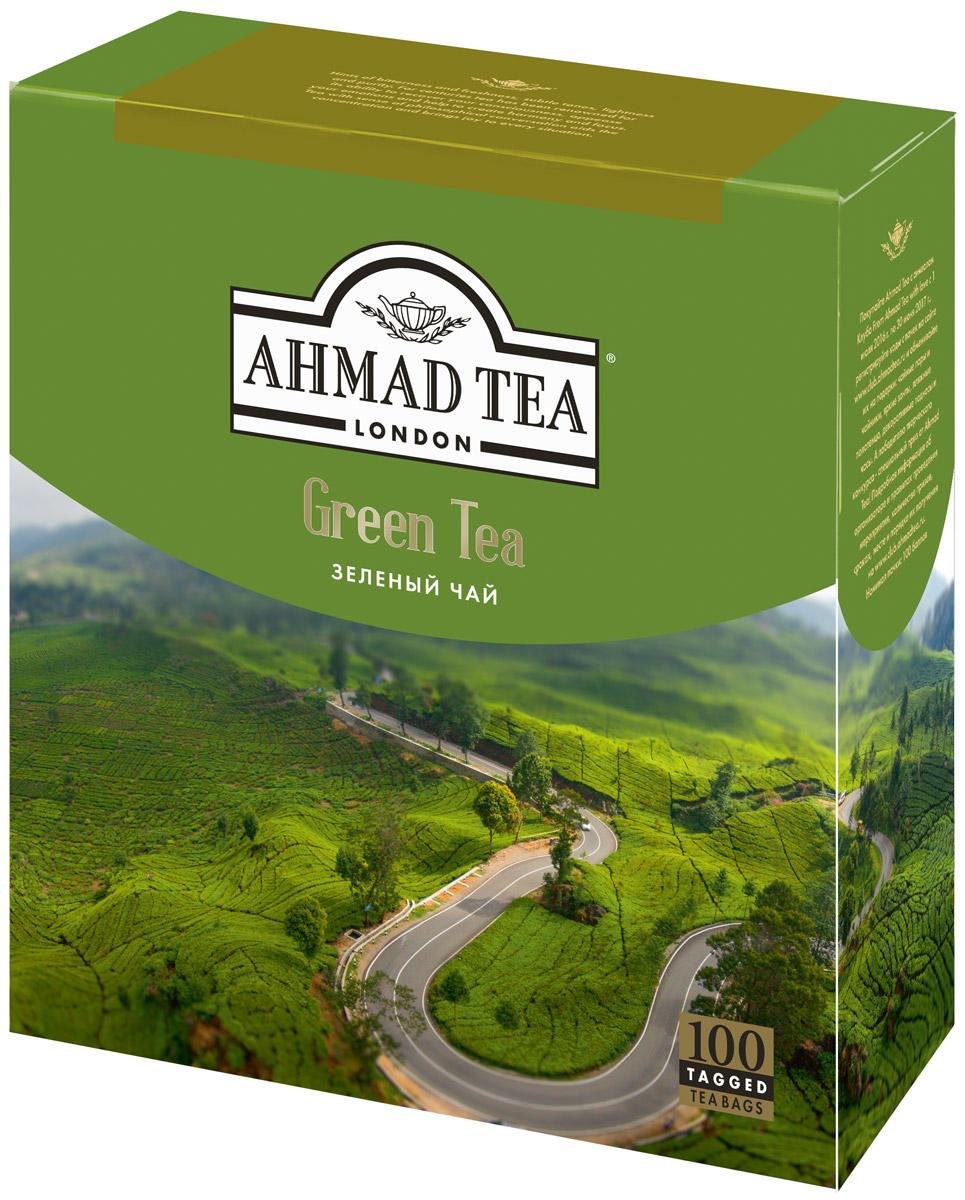 Ahmad Tea зеленый чай в пакетиках, 100 шт0120710Зеленый чай Ahmad - это едва заметная горчинка, свежесть, прозрачность оттенков, воздушность, легкость и чистота. Чай, способный, как и тысячу лет назад, прояснить сознание, успокоить поток эмоций, подарить сосредоточенность и гармонию. Чай со вкусом философской беседы, помогающий концентрации мысли и создающий дружественную атмосферу.Заваривать 3-5 минут, температура воды 90°С.Уважаемые клиенты! Обращаем ваше внимание на то, что упаковка может иметь несколько видов дизайна. Поставка осуществляется в зависимости от наличия на складе.