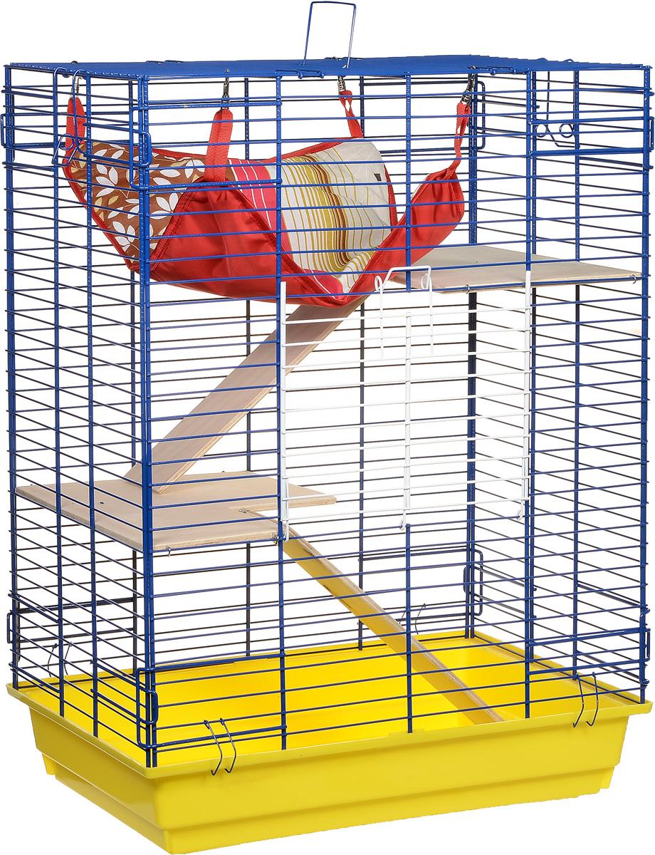 Клетка для шиншилл и хорьков ЗооМарк, цвет: желтый поддон, синяя решетка, 59 х 41 х 79 см. 725дк440КЗКлетка ЗооМарк, выполненная из полипропилена и металла, подходит для шиншилл и хорьков. Большая клетка оборудована длинными лестницами и гамаком. Изделие имеет яркий поддон, удобно в использовании и легко чистится. Сверху имеется ручка для переноски. Такая клетка станет уединенным личным пространством и уютным домиком для грызуна.