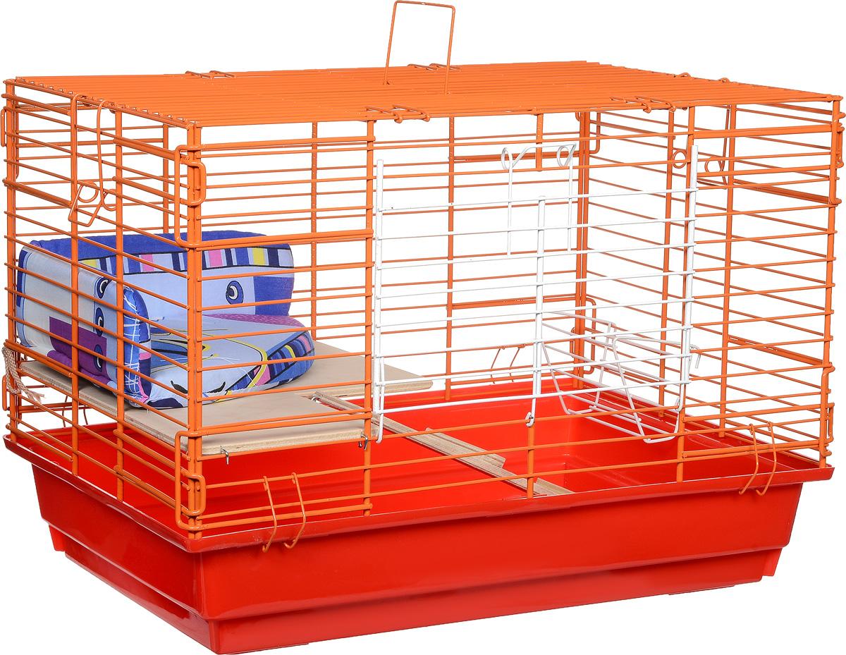 Клетка для кроликов ЗооМарк, 2-этажная, цвет: красный поддон, оранжевая решетка, 59 х 39 х 41 см0120710Клетка для кроликов ЗооМарк, выполненная из металла и пластика, предназначена для содержания вашего любимца. Клетка имеет прямоугольную форму, очень просторна, оснащена съемным поддоном. Она очень легко собирается и разбирается. Для удобства вашего питомца в клетке предусмотрен мягкий уголок, в котором кролик сможет отдохнуть. Такая клетка станет для вашего питомца уютным домиком и надежным убежищем.