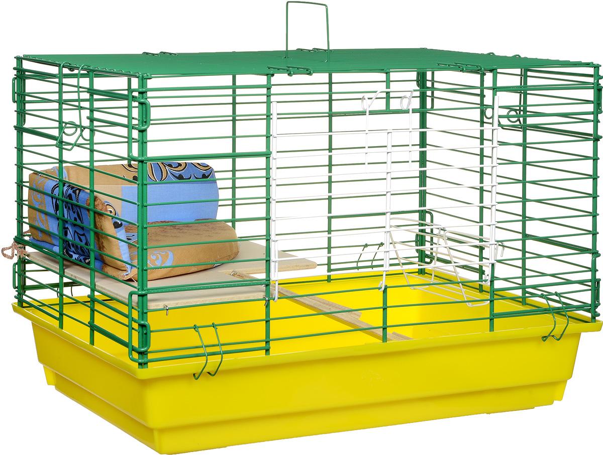 Клетка для кроликов ЗооМарк, 2-этажная, цвет: желтый поддон, зеленая решетка, 59 х 39 х 41 см0120710Клетка для кроликов ЗооМарк, выполненная из металла и пластика, предназначена для содержания вашего любимца. Клетка имеет прямоугольную форму, очень просторна, оснащена съемным поддоном. Она очень легко собирается и разбирается. Для удобства вашего питомца в клетке предусмотрен мягкий уголок, в котором кролик сможет отдохнуть. Такая клетка станет для вашего питомца уютным домиком и надежным убежищем.