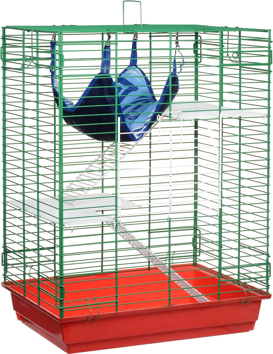 Клетка для шиншилл и хорьков ЗооМарк, цвет: красный поддон, зеленая решетка, 59 х 41 х 79 см. 725жк640КЗКлетка ЗооМарк, выполненная из полипропилена и металла, подходит для шиншилл и хорьков. Большая клетка оборудована длинными лестницами и гамаком. Изделие имеет яркий поддон, удобно в использовании и легко чистится. Сверху имеется ручка для переноски. Такая клетка станет уединенным личным пространством и уютным домиком для грызуна.