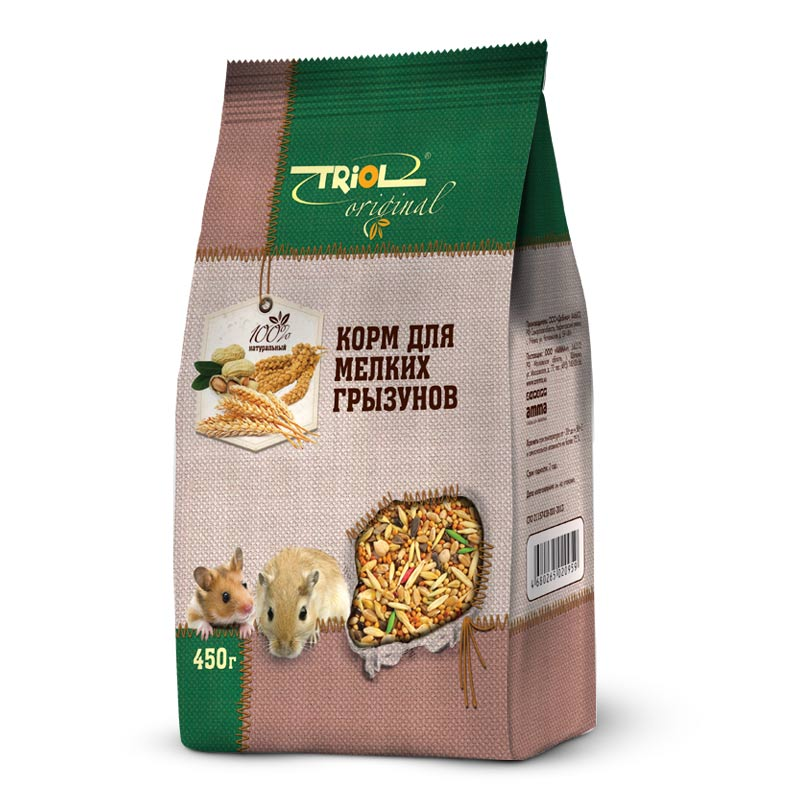 Корм Triol Original, для мелких грызунов, 450 г0120710Корма и лакомства Triol Original содержат только натуральные ингредиенты и изготовлены из отборного зерна. Оригинальная рецептура учитывает пещевые потребности вашего пернатого питомца. Сбалансированный и разнообразный состав не только удовлетворяет вкусовым предпочтениям, но и укрепляет здоровье.