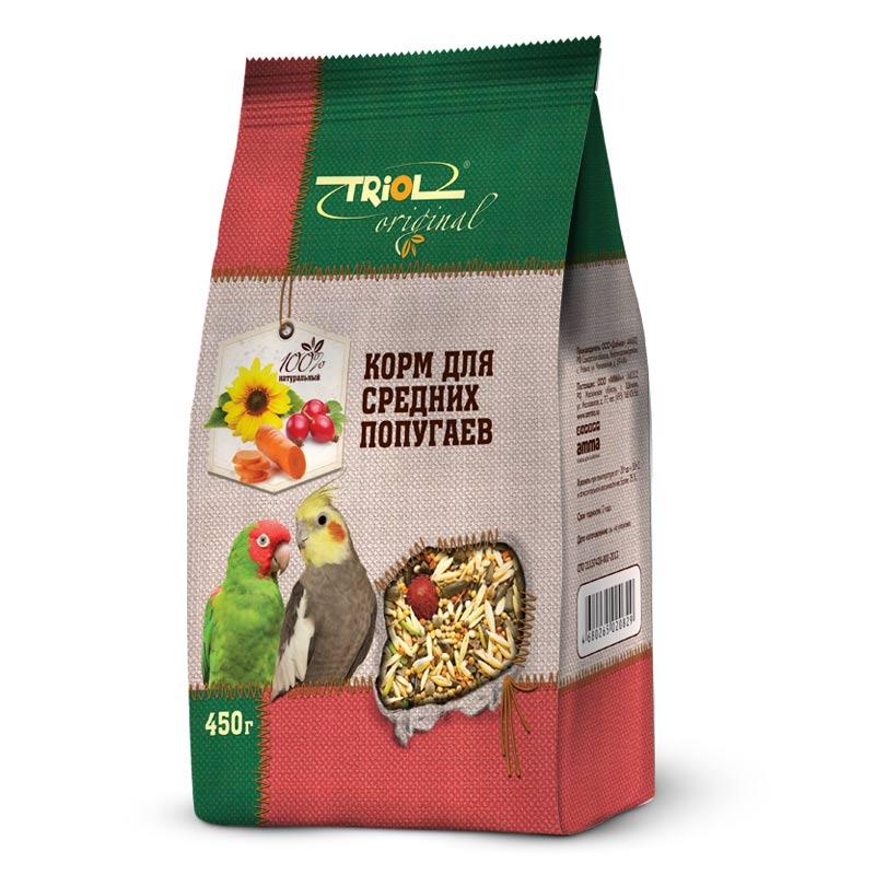 Корм Triol Original, для средних попугаев, 450 гTF-00400Корма и лакомства Triol Original содержат только натуральные ингредиенты и изготовлены из отборного зерна. Оригинальная рецептура учитывает пещевые потребности вашего пернатого питомца. Сбалансированный и разнообразный состав не только удовлетворяет вкусовым предпочтениям, но и укрепляет здоровье. Полнорационный корм, разработанный специально для средних попугаев. Изготовлен исключительно из натуральных ингредиентов природного происхождения, упакован в практичный четырехшовный пакет с плоским дном, сохраняющим свежесть корма.Состав:Просо белое, просо красное, семена подсолнечника, овёс, овёс очищенный, гречка, ячмень, конопля, канареечник, суданка, сорго, сафлор, морковь, шиповник, витаминный комплекс. Попугайчики - шумные и суетливые создания. В каждое кормление насыпайте столько корма, сколько птичка сможет съесть за один приём - излишки могут испачкаться или испортиться. Лучше добавлять свежую порцию по необходимости. Обязательно проконсультируйтесь у заводчика попугая, как правильно кормить Вашу птичку с учетом разновидности и возраста. Полнорационный корм для средних попугаев Triol Original содержит все необходимые питательные вещества для Вашей птицы.Позаботьтесь о том, чтобы у питомца всегда была чистая питьевая вода и гравий, необходимый для пищеварения пернатых, а также минерально-меловой камень.Чтобы разнообразить рацион питомца и для утоления его жажды погрызть что-нибудь, а также просто для его развлечения, рекомендуем предложить ему лакомства на палочках, которые подвешиваются внутри клетки. Срок годности - 2 года с даты производства. Хранить в сухом прохладном месте, избегать попадания прямых солнечных лучей.Открытую упаковку следует оберегать от влаги и света. Если корм пролежал в открытой упаковке долгое время, то, прежде чем давать питомцу, проверьте, не испортился ли он и не завелись ли в нём насекомые.