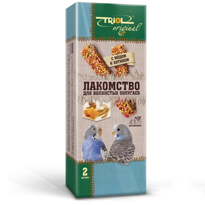 Лакомство для попугаев Triol Original, с медом и хитином, 2 шт0120710Корма и лакомства Triol Original содержат только натуральные ингредиенты и изготовлены из отборного зерна. Оригинальная рецептура учитывает пещевые потребности вашего пернатого питомца. Сбалансированный и разнообразный состав не только удовлетворяет вкусовым предпочтениям, но и укрепляет здоровье. Лакомство для волнистых попугаев с мёдом и хитином: в картонной коробке две палочки лакомства (запаяны в полиэтиленовый пакет для сохранения свежести продукта). Лакомство - дополнительное питание и развлечение для Вашего птички, позволяющее также поточить клюв, что необходимо декоративным птицам, живущим в неволе. Вес 2 палочек - 88 г.