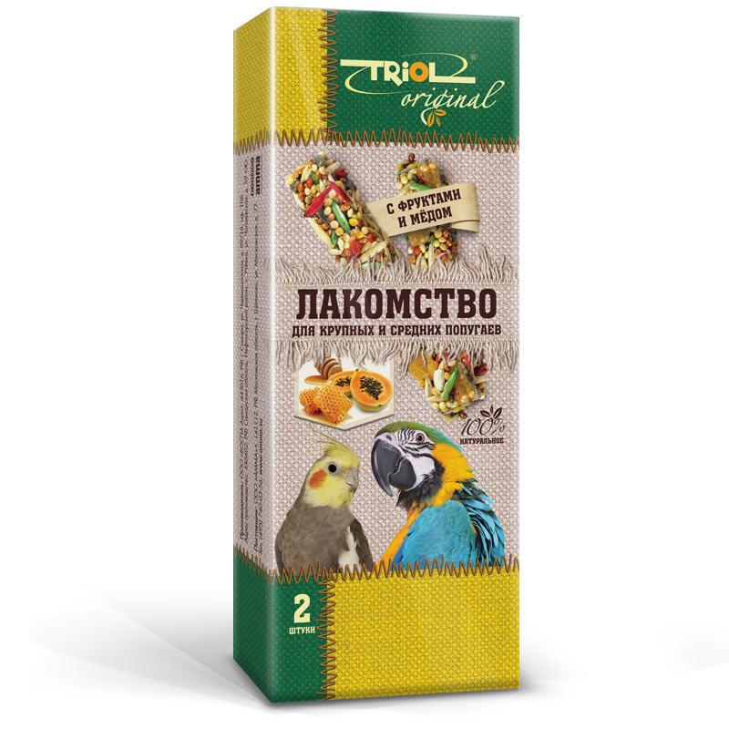 Лакомство для попугаев Triol Original, с фруктами и медом, 2 штTF-20700Корма и лакомства Triol Original содержат только натуральные ингредиенты и изготовлены из отборного зерна. Оригинальная рецептура учитывает пещевые потребности вашего пернатого питомца. Сбалансированный и разнообразный состав не только удовлетворяет вкусовым предпочтениям, но и укрепляет здоровье. Лакомство для крупных и средних попугаев с фруктами и мёдом: в картонной коробке две палочки лакомства (запаяны в полиэтиленовый пакет для сохранения свежести продукта). Лакомство - дополнительное питание и развлечение для Вашего птички, позволяющее также поточить клюв, что необходимо декоративным птицам, живущим в неволе. Вес 2 палочек - 88 г.