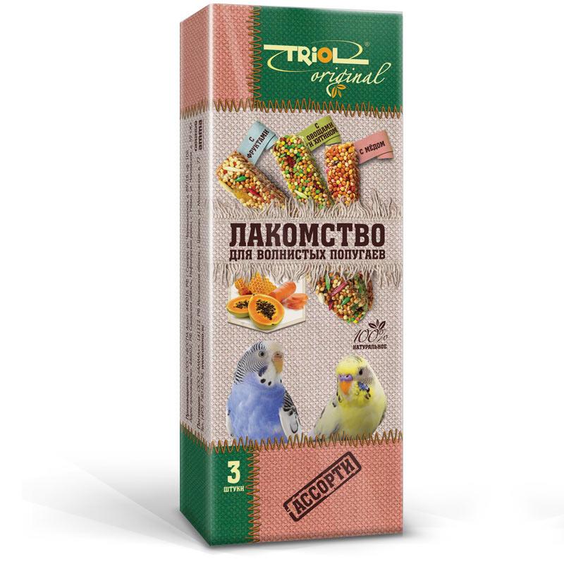 Лакомство для попугаев Triol Original, ассорти, 3 шт0120710Корма и лакомства Triol Original содержат только натуральные ингредиенты и изготовлены из отборного зерна. Оригинальная рецептура учитывает пещевые потребности вашего пернатого питомца. Сбалансированный и разнообразный состав не только удовлетворяет вкусовым предпочтениям, но и укрепляет здоровье. Лакомство для волнистых попугаев АССОРТИ : в картонной коробке две палочки лакомства (запаяны в полиэтиленовый пакет для сохранения свежести продукта). Лакомство - дополнительное питание и развлечение для Вашего птички, позволяющее также поточить клюв, что необходимо декоративным птицам, живущим в неволе. Вес 2 палочек - 88 г.