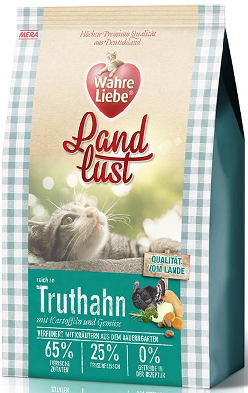 Корм сухой Wahre Liebe Landlust Truthahn, для кошек, беззерновой, с индейкой, 400 г47374Wahre Liebe - это корм, произведенный в Германии, он обладает превосходным вкусом и ароматом, которые не оставят равнодушной даже самую привередливую кошку. Ведущий ветеринарный врач завода Mera учел все потребности организма кошки, разработал идеальную формулу корма и назвал ее - Wahre Liebe, что в переводе с немецкого Истинная любовь.Wahre Liebe - не только подарит любовь и заботу питомцу, но и обеспечит его здоровьем и долголетием на всю жизнь.Корм Wahre Liebe это:- 68% свежего мяса,- устойчивая кишечная микрофлора и отличное пищеварение,- профилактика волосяных комочков,- поддержка иммунитета на клеточном уровне,- сбалансированное и полнорационное питание.Wahre Liebe - это истинная любовь для кошек с характером. Это истинно немецкое качество.Особенности:1) Беззерновой корм - исключает аллергические реакции у кошек на зерновые. 2) Корм холистик класса -при производстве корма используется только натуральные и высококачественные ингредиенты. Корма холистик класса отличаются высоким содержанием мяса в составе (до 70%).3) Профилактика волосяных комочков - целлюлоза (свекольный жом), содержащийся в корме препятствует формированию и задержанию шерсти в желудке и кишечнике кошки. 4) Устойчивая кишечная микрофлора и пищеварение - содержащиеся в составе корма про- и пребиотики благотворно влияют на работу кишечника, увеличивая количество полезной микрофлоры в нем. Состав: свежее мясо курицы (25%), картофельные хлопья, белок индейки (14%, сушеный), белок птицы (14%, сушеный), жир домашней птицы (5,5%), лигноцеллюлоза, свеклович-ный сухой жом, белок птицы (3%, гидролизованный), яйца (2%, сушеные), картофельный белок, пивные дрожжи (сушеные), масло лосося (0,5%), хлорид натрия, подсолнечное масло (0,2%), петрушка, листья сельдерея, листья любистока, анис, розмарин, кориандр, подорожник, цикорий (инулин), морковь (сушеная), тыква (сушеная), яблоко (сушеное), масло огуречника.Товар сертифиц