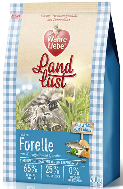Корм сухой Wahre Liebe Landlust Forelle, для кошек, беззерновой, с форелью, 400 г0120710Wahre Liebe - это корм, произведенный в Германии, он обладает превосходным вкусом и ароматом, которые не оставят равнодушной даже самую привередливую кошку. Ведущий ветеринарный врач завода Mera учел все потребности организма кошки и разработал идеальную формулу корма и назвал ее - Wahre Liebe, что в переводе с немецкого Истинная любовь.Wahre Liebe - не только подарит любовь и заботу питомцу, но и обеспечит его здоровьем и долголетием на всю жизнь.Корм Wahre Liebe это:- 68% свежего мяса,- устойчивая кишечная микрофлора и отличное пищеварение,- профилактика волосяных комочков,- поддержка иммунитета на клеточном уровне,- сбалансированное и полнорационное питание.Wahre Liebe - это истинная любовь для кошек с характером. Это истинно немецкое качество.Особенности:1) Беззерновой корм - исключает аллергические реакции у кошек на зерновые. 2) Корм холистик класса -при производстве корма используется только натуральные и высококачественные ингредиенты. Корма холистик класса отличаются высоким содержанием мяса в составе (до 70%).3) Профилактика волосяных комочков - целлюлоза (свекольный жом), содержащийся в корме препятствует формированию и задержанию шерсти в желудке и кишечнике кошки. 4) Устойчивая кишечная микрофлора и пищеварение - содержащиеся в составе корма про- и пребиотики благотворно влияют на работу кишечника, увеличивая количество полезной микрофлоры в нем. Состав: свежее мясо курицы (25%), картофельные хлопья, форель (14%, сушеная), белок птицы (14%, сушеный), жир домашней птицы (5,5%), лигноцеллюлоза, белок птицы (3,5%, гидролизованный), яйца (2,5%, сушеные), свекловичный сухой жом, картофельный белок, льняное семя, пивные дрожжи (сушеные), масло лосося (0,5%), подсолнечное масло, петрушка, листья любистока, листья сельдерея,анис, розмарин, кориандр, подорожник, цикорий (инулин), хлорид натрия, масло огуречника, морковь (сушеная), тыква (сушеная), яблоко (сушеное).Товар серти