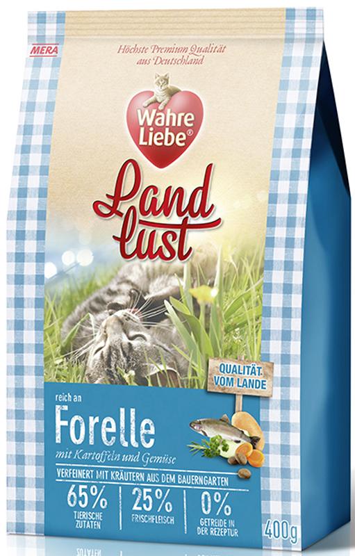 Корм сухой Wahre Liebe Landlust Forelle, для кошек, беззерновой, с форелью, 1,5 кг0120710Wahre Liebe - это корм, произведенный в Германии, он обладает превосходным вкусом и ароматом, которые не оставят равнодушной даже самую привередливую кошку. Ведущий ветеринарный врач завода Mera учел все потребности организма кошки, разработал идеальную формулу корма и назвал ее - Wahre Liebe, что в переводе с немецкого Истинная любовь.Wahre Liebe - не только подарит любовь и заботу питомцу, но и обеспечит его здоровьем и долголетием на всю жизнь.Корм Wahre Liebe это:- 68% свежего мяса,- устойчивая кишечная микрофлора и отличное пищеварение,- профилактика волосяных комочков,- поддержка иммунитета на клеточном уровне,- сбалансированное и полнорационное питание.Wahre Liebe - это истинная любовь для кошек с характером. Это истинно немецкое качество.Особенности:1) Беззерновой корм - исключает аллергические реакции у кошек на зерновые. 2) Корм холистик класса -при производстве корма используется только натуральные и высококачественные ингредиенты. Корма холистик класса отличаются высоким содержанием мяса в составе (до 70%).3) Профилактика волосяных комочков - целлюлоза (свекольный жом), содержащийся в корме препятствует формированию и задержанию шерсти в желудке и кишечнике кошки. 4) Устойчивая кишечная микрофлора и пищеварение - содержащиеся в составе корма про- и пребиотики благотворно влияют на работу кишечника, увеличивая количество полезной микрофлоры в нем. Состав: свежее мясо курицы (25%), картофельные хлопья, форель (14%, сушеная), белок птицы (14%, сушеный), жир домашней птицы (5,5%), лигноцеллюлоза, белок птицы (3,5%, гидролизованный), яйца (2,5%, сушеные), свекловичный сухой жом, картофельный белок, льняное семя, пивные дрожжи (сушеные), масло лосося (0,5%), подсолнечное масло, петрушка, листья любистока, листья сельдерея,анис, розмарин, кориандр, подорожник, цикорий (инулин), хлорид натрия, масло огуречника, морковь (сушеная), тыква (сушеная), яблоко (сушеное).Товар серти