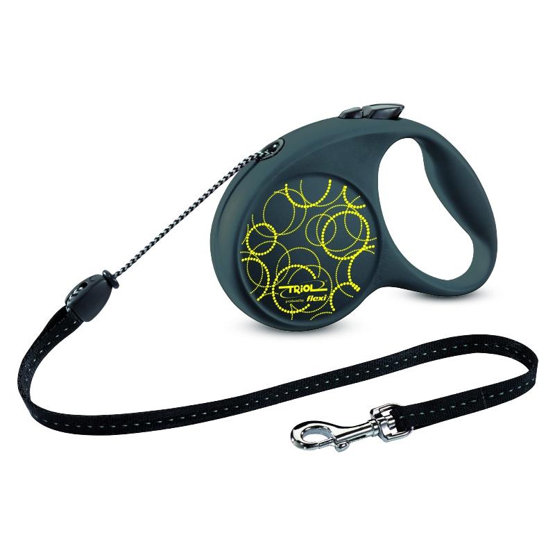 Поводок-рулетка Triol Fun Neon, до 12 кг, 5 м. Размер S07133Рулетки для собак flexi – это безусловное качество, подкрепленное многолетним опытом, которое теперь доступно и поклонникам бренда TRIOL. Идеальное исполнение, прочный и, в то же время, приятный на ощупь пластик, запатентованный тормозной механизм и легендарная надежность стали более доступны благодаря сотрудничеству российской компании и немецкого производителя.Рулетки новой коллекции производятся в Германии, собираются вручную и проходят десятки проверок качества перед выпуском с завода. Компания flexi предоставляет два года гарантии.В рулетках серии FUN предусмотрена возможность крепления специального мультибокса - компактный контейнер для гигиенических пакетов удобно фиксируется прямо под ручкой! Мультибокс приобретается отдельно.Длина ленты: 5мМаксимальная нагрузка: 12кгЦвет рулетки: черный, цвет рисунка: неоново-желтый