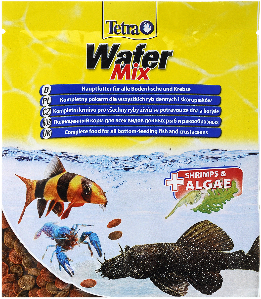 Корм Tetra TetraWafer Mix для всех видов донных рыб и ракообразных, пластинки, 15 г. 134461134461_в воде/1Корм Tetra TetraWafer Mix - это высококачественная смесь основного корма и креветок для кормления травоядных, хищных и донных рыб. Идеально подходит для кормления ракообразных (креветок, крабов, раков), сомовых и других придонных обитателей. Для травоядных донных рыб в аквариуме идеально подходят зеленые пластинки из водорослей спирулины, а коричневые - идеальны для хищников. Корм не мутит и не загрязняет воду благодаря плотному составу. Форма пластинок соответствует свойствам природного корма, позволяет кормить рыб разных размеров. Множество отборных высококачественных компонентов, витаминов, минералов и аминокислот обеспечивают питательными и энергетическими потребностями даже наиболее требовательных видов аквариумных рыб. Рекомендации оп кормлению: кормить несколько раз в день маленькими порциями. Состав: экстракты растительного белка, рыба и побочные рыбные продукты, зерновые культуры, растительные продукты, моллюски и раки (креветки 6,2%), дрожжи, водоросли (спирулина 1,5%), минеральные вещества, масла и жиры.Аналитические компоненты: сырой белок 45%, сырые масла и жиры 6%, сырая клетчатка 2%, содержание влаги 9%.Добавки: витамин А 28460 МЕ/кг, витамин Д3 1770 МЕ/КГ, марганец 64 мг/кг, цинк 38 мг/кг, железо 25 мг/кг, красители, консерванты, антиоксиданты.Товар сертифицирован.