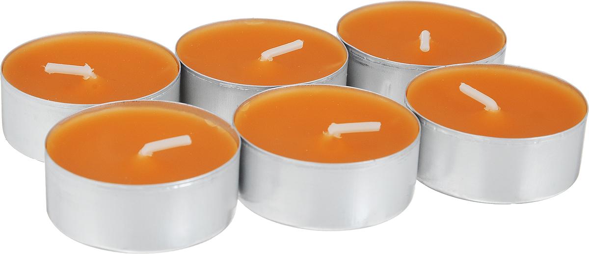 Свеча ароматическая чайная Bolsius Апельсин, 6 шт103626800484Свеча ароматическая Bolsius Апельсин создаст в доме атмосферу тепла и уюта. Чайная свеча в металлической подставке приятно смотрится в интерьере, она безопасна и удобна в использовании. Свеча создаст приятное мерцание, а сладкий манящий аромат окутает вас и подарит приятные ощущения.Время горения: 4 ч.