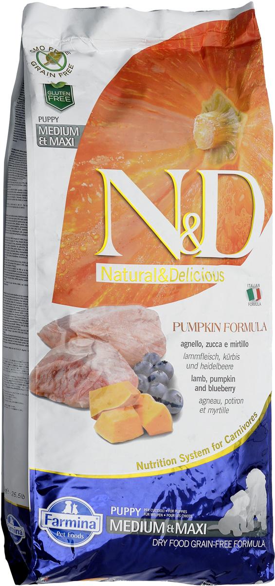 Корм сухой Farmina N&D для щенков средних и крупных пород, беззерновой, с ягненком, черникой и тыквой, 12 кг512355Сухой корм Farmina N&D является беззерновым и сбалансированным питанием для щенков средних и крупных пород, также подходит для беременных и кормящих собак. Изделие имеет высокое содержание витаминов и питательных веществ. Сухой корм содержит натуральные компоненты, которые необходимы для полноценного и здорового питания домашних животных.Товар сертифицирован.