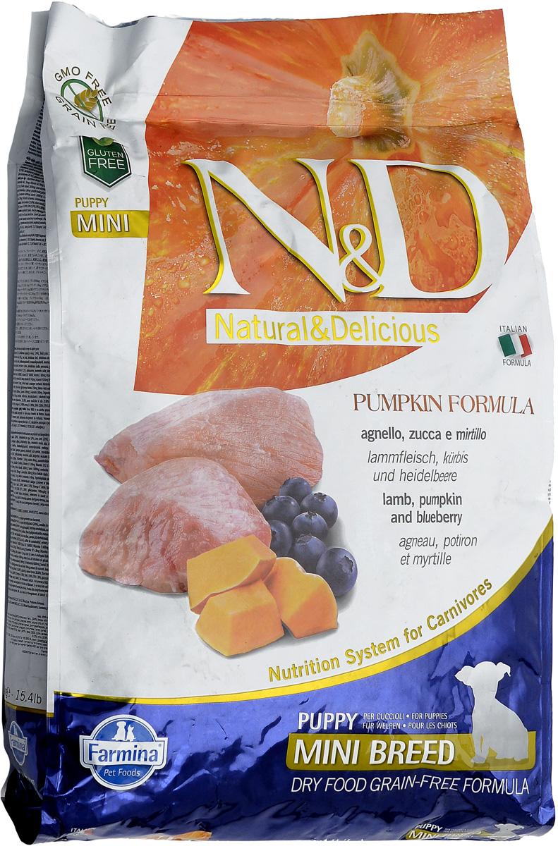 Корм сухой Farmina N&D для щенков мелких пород, беззерновой, с ягненком, черникой и тыквой, 7 кг0120710Сухой корм Farmina N&D является беззерновым и сбалансированным питанием для щенков мелких пород, также подходит для беременных и кормящих собак. Изделие имеет высокое содержание витаминов и питательных веществ. Сухой корм содержит натуральные компоненты, которые необходимы для полноценного и здорового питания домашних животных.Товар сертифицирован.