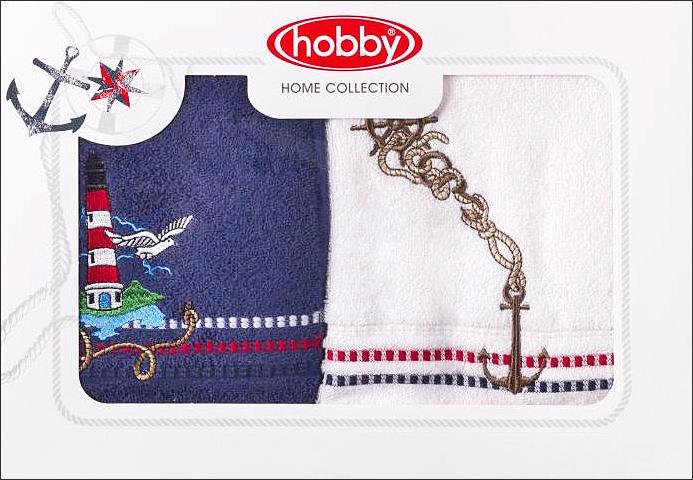 Полотенце махровое Hobby Home Collection Marina, цвет: синий, белый, 50х90 см, 2 шт1004900000360Полотенца марки Хобби уникальны и разрабатываются эксклюзивно для данной марки. При создании коллекции используются самые высокотехнологичные ткацкие приемы. Дизайнеры марки украшают вещи изысканным декором. Коллекция линии соответствует актуальным тенденциям, диктуемым мировыми подиумами и модой в области домашнего текстиля.