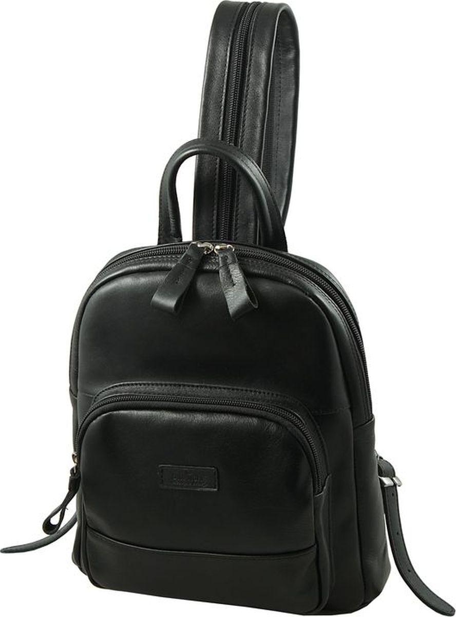 Рюкзак женский Dimanche, цвет: черный. 468/1101225Стильный женский рюкзак Dimanche выполнен из натуральной кожи. Изделие имеет одно отделение, закрывающееся на застежку-молнию. Внутри находятся два открытых накладных кармана и карман для планшета. Снаружи, на передней стенке располагается накладной карман на застежке-молнии. На задней стенке предусмотрен прорезной карман на застежке-молнии. Рюкзак оснащен двумя лямками, регулируемой длины, которые при помощи молнии соединяются в одну, и удобной ручкой. Стильный рюкзак Dimanche прекрасно дополнит ваш образ.