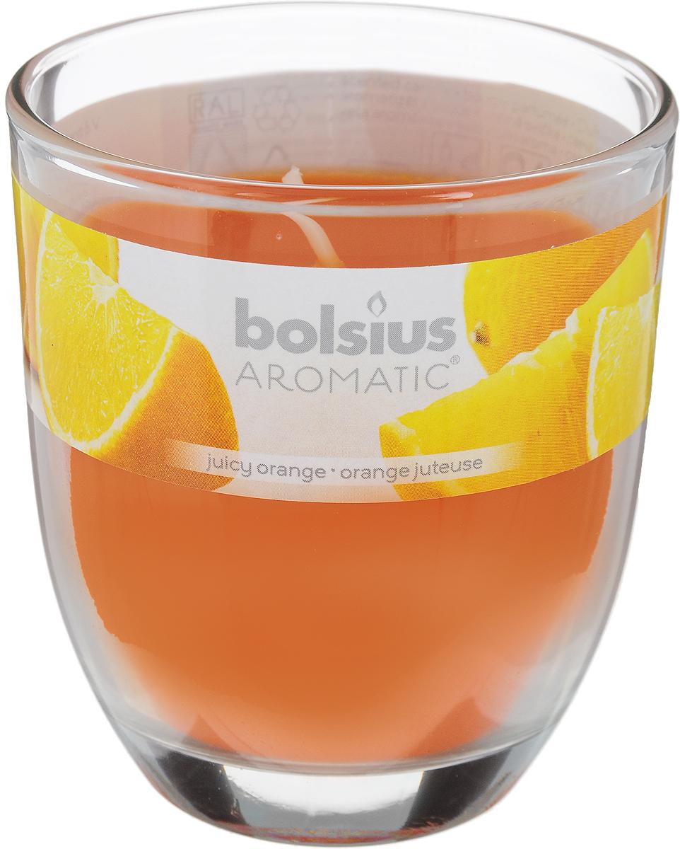 Свеча ароматическая Bolsius Апельсин, 7 х 7 х 8 см10GSS1325-PАроматизированная свеча Bolsius Апельсин изготовлена из воска и поставляется в подсвечнике в виде стеклянного стакана. Изделие отличается оригинальным дизайном и приятным ароматом. Такая свеча может стать отличным подарком или дополнить интерьер вашей комнаты.