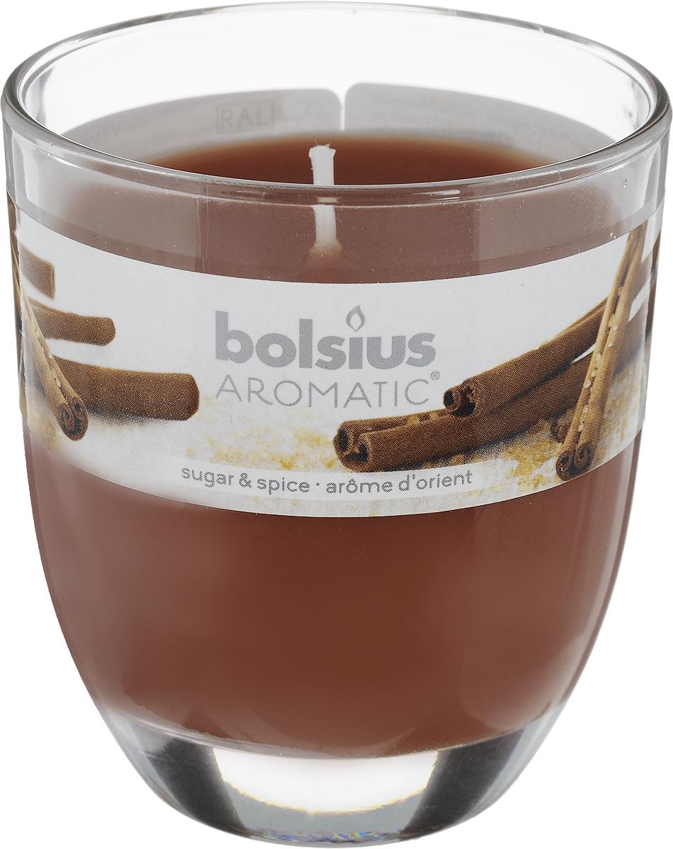 Свеча ароматическая Bolsius Пряность, 7 х 7 х 8 см08GS1504-COАроматизированная свеча Bolsius Пряность изготовлена из воска и поставляется в подсвечнике в виде стеклянного стакана. Изделие отличается оригинальным дизайном и приятным ароматом. Такая свеча может стать отличным подарком или дополнить интерьер вашей комнаты.