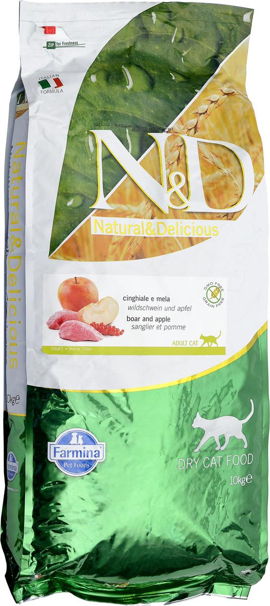 Корм сухой для взрослых кошек Farmina N&D, беззерновой, с кабаном и яблоком, 10 кг0120710Сухой корм Farmina N&D является беззерновым полноценным питанием для взрослых кошек. Изделие имеет высокое содержание витаминов и питательных веществ. Сухой корм содержит натуральные компоненты, которые необходимы для полноценного и здорового питания домашних животных. Рецептура корма построена по принципу питания плотоядных. Товар сертифицирован.