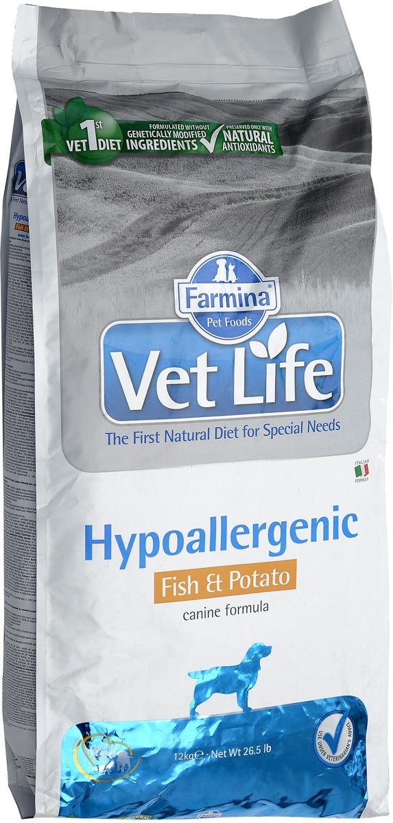 Корм сухой Farmina Vet Life, для собак с пищевой аллергией или пищевой непереносимостью, диетический, с рыбой и картофелем, 12 кг0120710Корм сухой Farmina Vet Life - это гипоаллергенное диетическое питание для собак, страдающих пищевой аллергией или пищевой непереносимостью. Также рекомендовано, как вспомогательное средство для улучшения трофических функции кожи и ее производных.Корм Farmina Vet Life содержит единственный источник белка животного происхождения - дикая рыба Северного моря (сельдь) и единственный источник углеводов - картофель, что обеспечивает гипоаллергенные свойства продукта. Повышенное содержание независимых жирных кислот способствует снижению воспалительных процессов в коже и ее производных.Рекомендации по кормлению: использовать по назначению ветеринарного врача.Товар сертифицирован.