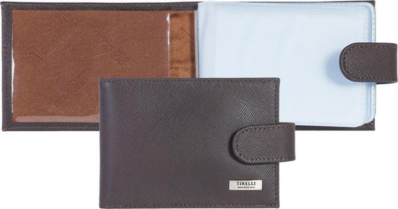 Визитница женская Tirelli, цвет: коричневый. 15-313-03DS2016-004-26Визитница Tirelli изготовлена из натуральной кожи.Модель закрывается хлястиком на кнопку, оформлена фирменным логотипом. Внутри имеется 10 двусторонних кармашков из прозрачного пластика для хранения пластиковых карт, визиток, дисконтных карт и т. п. Такая визитница не только поможет сохранить внешний вид ваших документов и защитит их от повреждений, но и станет ярким аксессуаром, который подчеркнет ваш образ.