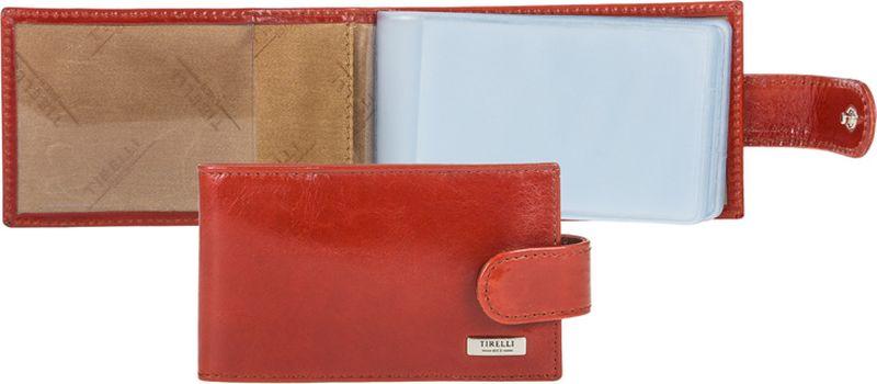 Визитница женская Tirelli, цвет: коралловый. 15-313-25INT-06501Визитница Tirelli изготовлена из натуральной кожи.Модель закрывается хлястиком на кнопку, оформлена фирменным логотипом. Внутри имеется 10 двусторонних кармашков из прозрачного пластика для хранения пластиковых карт, визиток, дисконтных карт и т. п. Такая визитница не только поможет сохранить внешний вид ваших документов и защитит их от повреждений, но и станет ярким аксессуаром, который подчеркнет ваш образ.