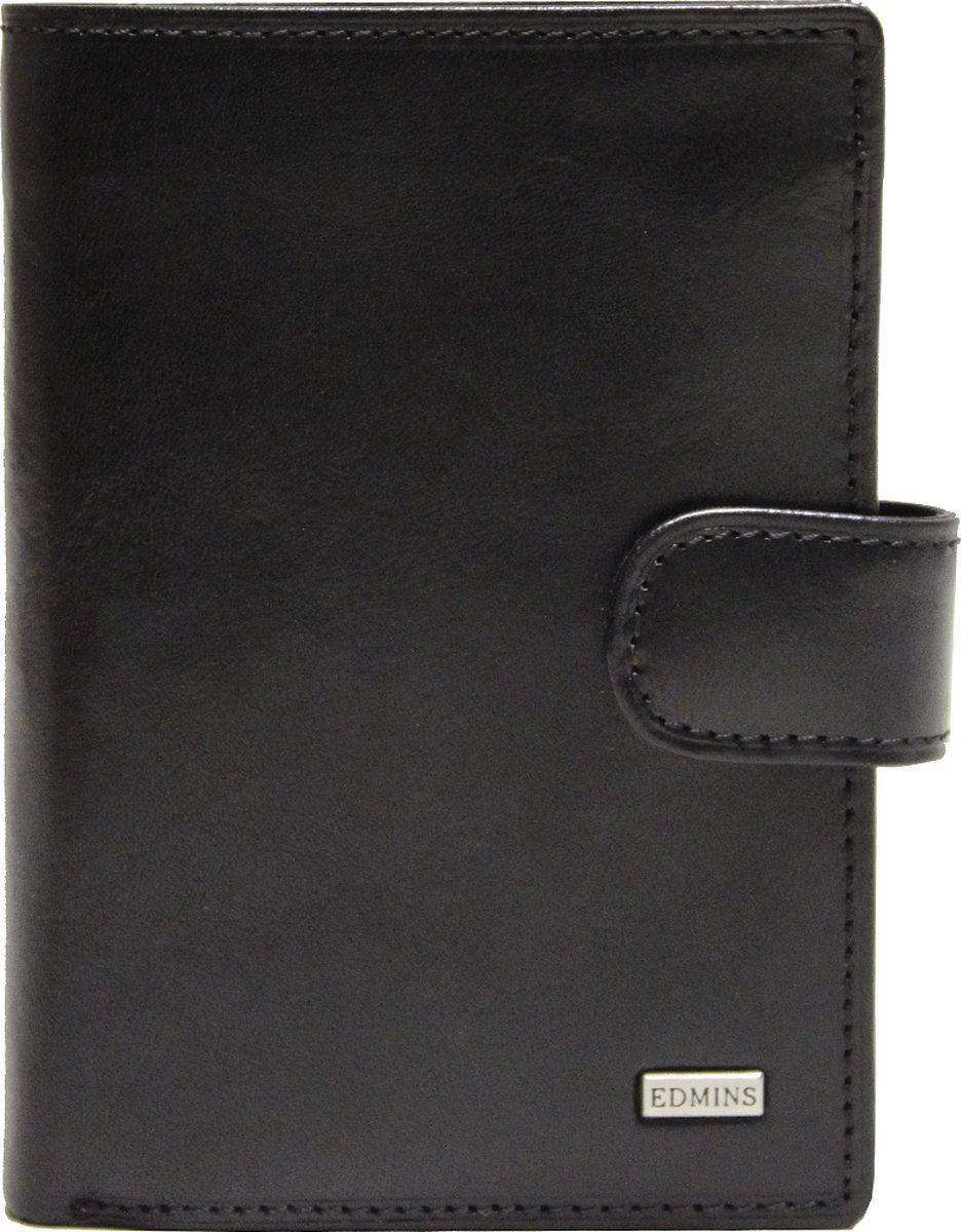 Портмоне мужское Edmins, цвет: черный. 2359 А ML ED495350нКомпактное портмоне Edmins выполнено из натуральной кожи с гладкой фактурой и оформлено металлическим элементом с символикой бренда. Модель раскладывается пополам и закрывается хлястиком на кнопку. Внутренний функционал: два отделения для купюр, накладной кармашек для визиток и пластиковых карт, карман со вставкой из прозрачного ПВХ. Отделение для мелочи закрывается на кнопку. В коллекциях кожгалантереи Edmins удачно сочетаются итальянская классика и шведский прагматизм, новаторство молодых дизайнеров и работы именитых мастеров, строгая цветовая гамма и смелые эксперименты с цветом. Изделия Edmins, разработанные в Италии, отличает высокое качество кожи, прекрасная износостойкость и актуальность коллекций.Изделие упаковано в фирменную коробку.