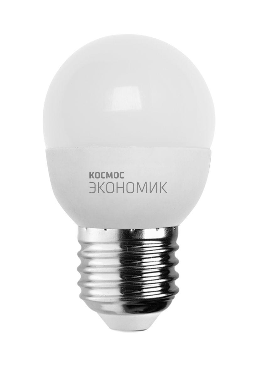 Лампа светодиодная Космос Шарик, 220V, теплый свет, цоколь Е27, 6.5WLkecLED6.5wGL45E2730Декоративная светодиодная лампа Шарик является аналогом лампы накаливания 50 Вт. В основе лампы используются чипы от мирового лидера Epistar- что обеспечивает надежную и стабильную работу в течение всего срока службы (25 000 часов). До 90% экономии энергии по сравнению с обычной лампой накаливания (сопоставимы по размеру). Стабильный световой поток в течение всего срока службы; экологическая безопасность (не содержит ртути и тяжелых металлов). Мягкое и равномерное распределение света повышает зрительный комфорт и снижает утомляемость глаз. Благодаря высокому индексу цветопередачи свет лампы комфортен и передает естественные цвета и оттенки. Инструкция по эксплуатации и гарантийный талон - в комплекте.
