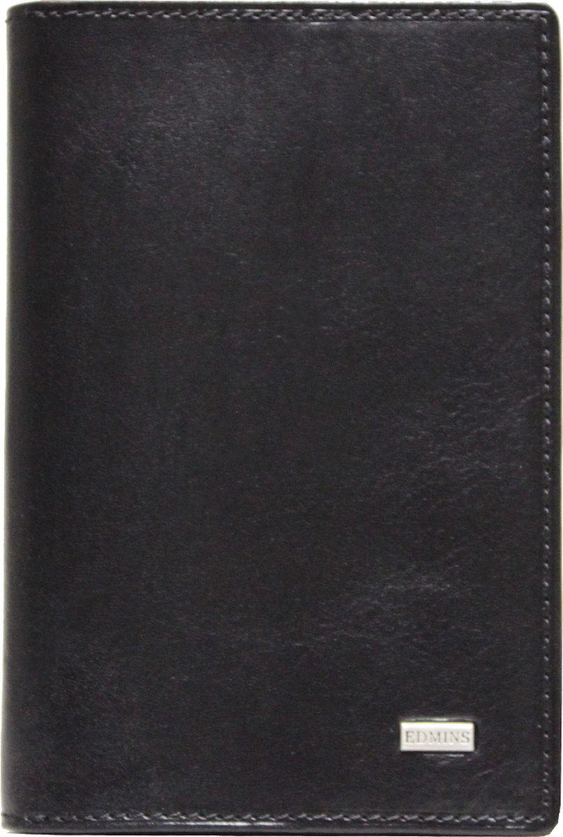 Обложка для документов Edmins, цвет: черный. 1424 ML ED7A4110-6103Обложка для документов Edmins выполнена из натуральной кожи с естественной фактурой и оформлена металлическим элементом с символикой бренда. Подкладка изготовлена из полиэстера.Изделие раскладывается пополам. Внутри размещены несколько накладных кармашков из прозрачного ПВХ, накладной карман с окошком и угловой кармашек для карточек. В коллекциях кожгалантереи Edmins удачно сочетаются итальянская классика и шведский прагматизм, новаторство молодых дизайнеров и работы именитых мастеров, строгая цветовая гамма и смелые эксперименты с цветом. Изделия Edmins, разработанные в Италии, отличает высокое качество кожи, прекрасная износостойкость и актуальность коллекций.Изделие упаковано в фирменную коробку.