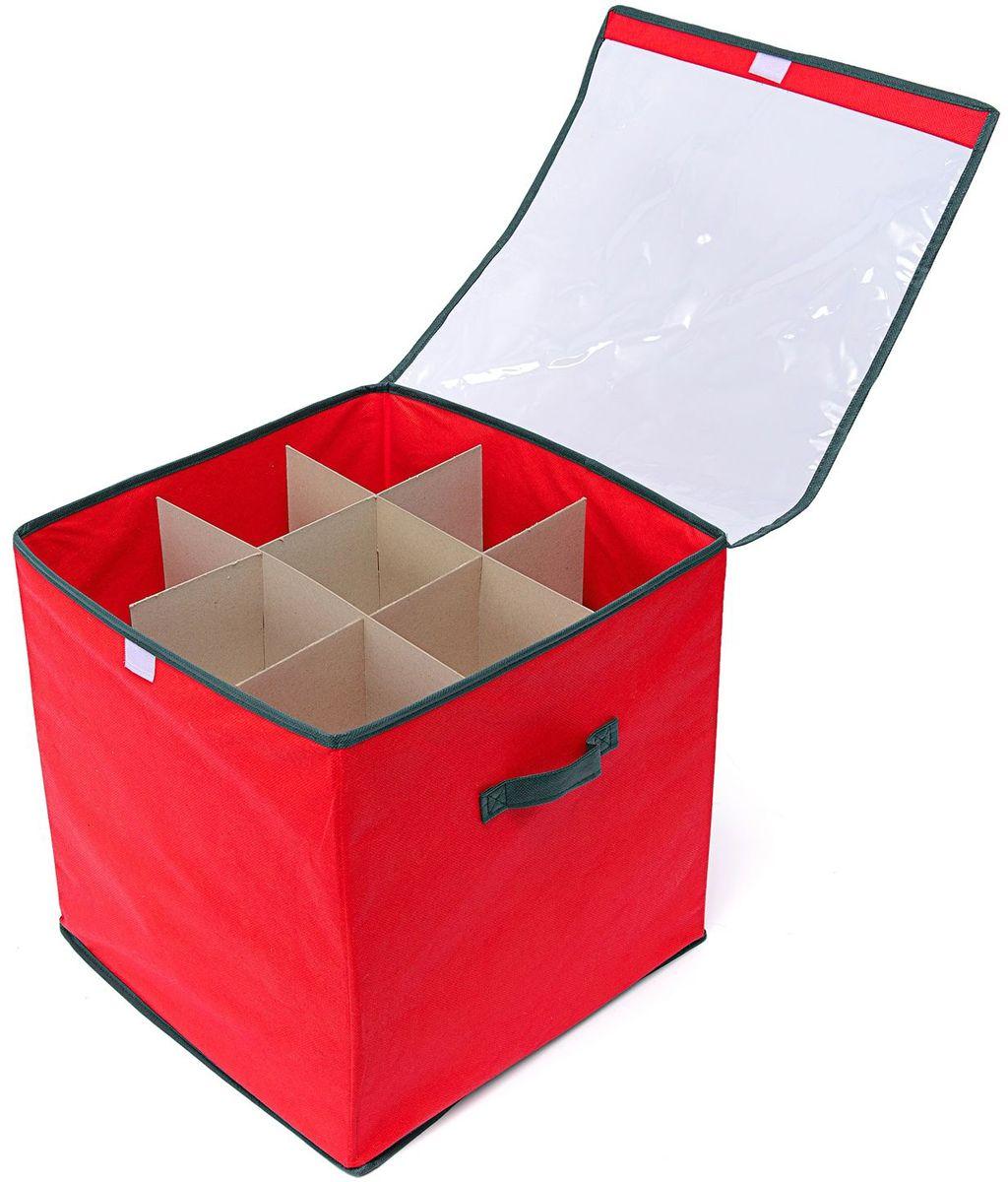 Коробка с делениями Homsu New Year, 30х40х25 см, цвет: красныйS03301004Коробка с крышкой оптимального размера 30х40х25 см, оснащена делениями из картона, прекрасно подходит для хранения ёлочных шаров и других украшений. Выполнена в традиционной новогодней расцветке. Размер изделия: 30х40х25см.