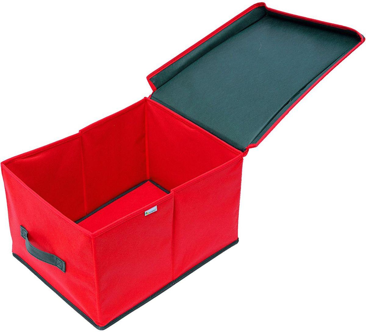 Органайзер куб Homsu New Year, 40х40х40 см, цвет: красныйRG-D31SОрганайзер куб Homsu New Year выполнен из высококачественного материала. Органайзер в форме куба, оснащен прозрачной крышкой из ПВХ на липучке, внутри имеются картонные деления, идеально подходит для хранения ёлочных шаров. Выполнен в традиционной новогодней расцветке.