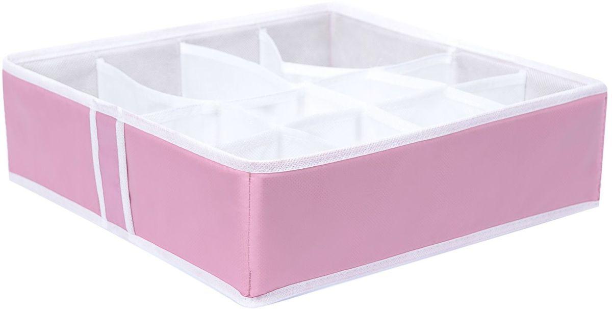 Органайзер Homsu Capri, на 12 секций, 35х35х10 см, цвет: розовый74-0120Квадратный и плоский органайзер имеет 12 раздельных ячеек, 8 ячеек размером 8Х8см и 4 ячейки размером 8Х16см, очень удобен для хранения мелких вещей в вашем ящике или на полке. Идеально для носков, платков, галстуков и других вещей ежедневного пользования. Имеет жесткие борта, что является гарантией сохранности вещей. Размер изделия: 35х35х10см.