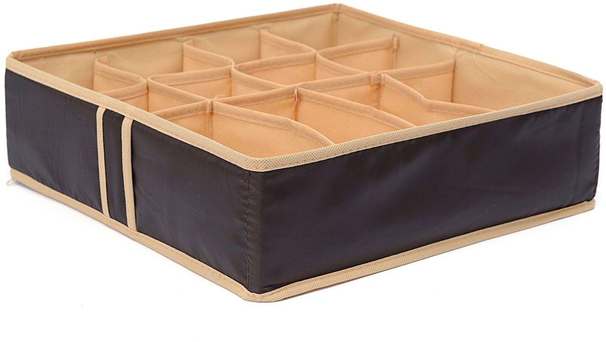 Органайзер Homsu Costa-Rica, цвет: коричневый, 35 х 35 х 10 смHOM-753Органайзер Homsu Costa-Rica выполнен из высококачественного материала. Квадратный и плоский органайзер имеет 12 раздельных ячеек, очень удобен для хранения мелких вещей в вашем ящике или на полке. Идеально для носков, платков, галстуков и других вещей ежедневного пользования. Имеет жесткие борта, что является гарантией сохранности вещей.
