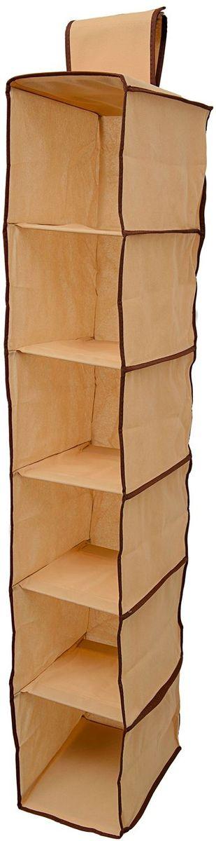 Органайзер Homsu Costa-Rica, подвесной в шкаф, 120х22х31 см, цвет: коричневый1004900000360Органайзер Homsu  Costa-Rica выполнен из высококачественного материала. Подвесной органайзер имеет 6 раздельных ячеек, очень удобен для хранения вещей в вашем шкафу. Идеально для колготок, шапок, шарфов, мелочей и других вещей ежедневного пользования.