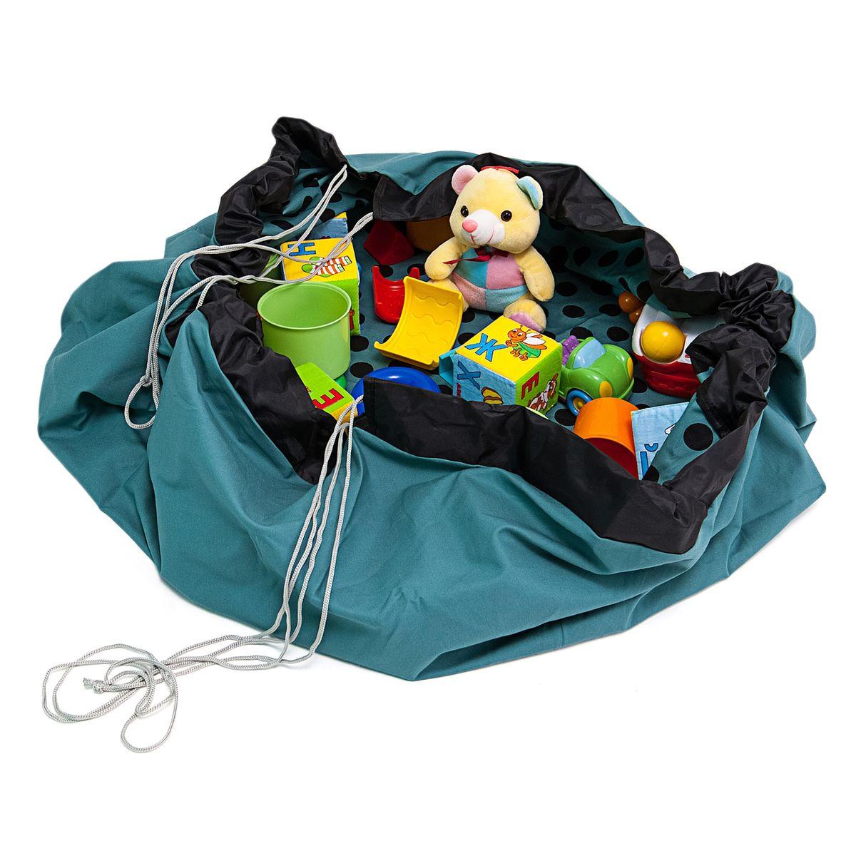 Сумка-коврик для игрушек Homsu Горошек, 135х135 см, цвет: бирюзовый, черный488615_красный, синийСумка-коврик это оригинальный способ хранения и транспортировки детских игрушек. В разложенном состоянии - это поле для игры, а когда нужно собрать игрушки, он затягивается на шнурок и превращается в удобную сумку. Выполнен из прочного, но мягкого канваса. Размер изделия: 135х135см