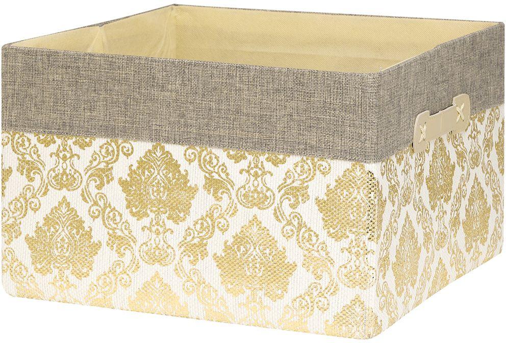 Кофр для хранения EL Casa Золотой узор, складной, 34 х 34 х 22 см280038Компактный складной кофр EL Casa Золотой узор изготовлен из высококачественного полиэстера, который обеспечивает естественную вентиляцию, позволяя воздуху проникать внутрь, не пропуская пыль. Благодаря специальным вставкам, кофр прекрасно держит форму, а эстетичный дизайн гармонично смотрится в любом интерьере. Легко складывается и раскладывается, имеет ручки для удобства.