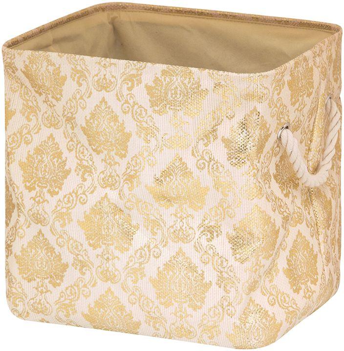 Кофр для хранения EL Casa Золотой узор, складной, 35 х 30 х 35 см280075Компактный складной кофр EL Casa Золотой узор изготовлен из высококачественного полиэстера, который обеспечивает естественную вентиляцию, позволяя воздуху проникать внутрь, не пропуская пыль. Изделие не имеет жестких вставок, при этом держит форму и имеет эстетичный вид и отлично смотрится в любом интерьере. Легко складывается и раскладывается, имеет ручки для удобства.