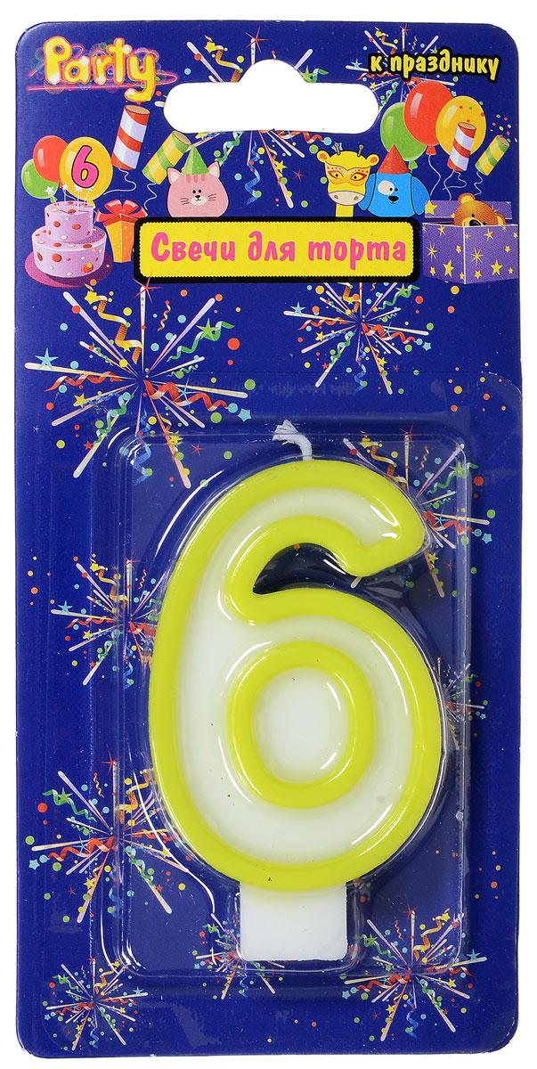 Action! Свеча-цифра для торта 6 лет цвет салатовый