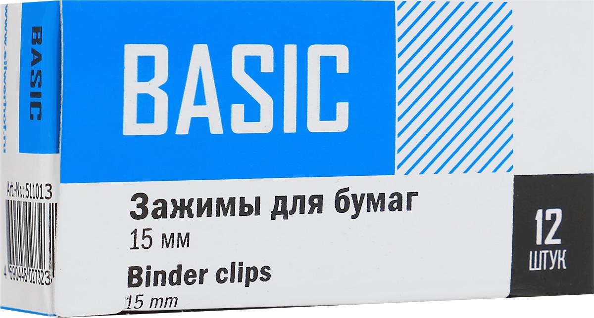 Silwerhof Зажим для бумаг Basic ширина 15 мм 12 штFS-00102Зажим для бумаг Silwerhof Basic предназначен для скрепления бумажных носителей.Зажим выполнен из стали.В упаковке 12 зажимов.