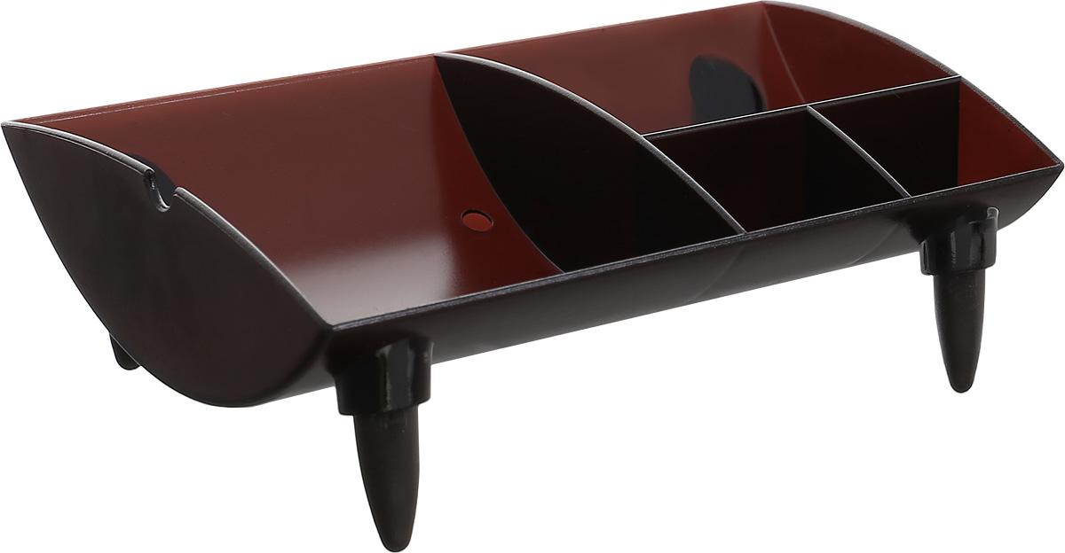 Silwerhof Подставка для канцелярских принадлежностей Universum цвет коричневый 4 отделенияFS-00103Подставка для канцелярских принадлежностей Silwerhof Universum - это неотъемлемый атрибут рабочего стола дома или в офисе.Подставка изготовлена из прочного тонированного пластика коричневого цвета и имеет четыре отделения.Такая подставка станет практичным и функциональным элементом вашего рабочего стола.
