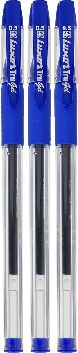 Luxor Набор гелевых ручек Tru Gel цвет синий 3 штCS-MixpackА6Набор гелевых ручек Luxor Tru Gel состоит из трех ручек с синими чернилами. Они отлично подойдут и для школьных занятий, и просто для подчеркивания.Ручки рисуют яркими насыщенными цветами. Корпуса с удобными каучуковыми вставками изготовлены из качественного прозрачного пластика. Колпачки ручек дополнены практичным клипом. Чернила на водной основе легко смываются с кожи и отстирываются с большинства тканей.Набор гелевых ручек станет незаменимой канцелярской принадлежностью для вас или для вашего ребенка.