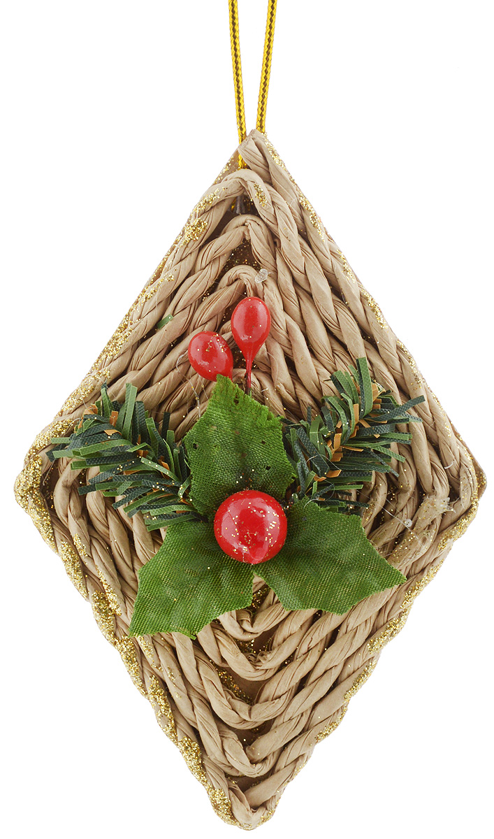 Украшение новогоднее подвесное House & Holder Ромбик, высота 10,5 смC21-128215Украшение новогоднее подвесное House & Holder Ромбик прекрасно подойдет для праздничного декора новогодней ели. Изделие выполнено из плотного картона и плетеной бумаги в форме ромба, покрыто блестками и украшено аппликацией в виде листочков с ягодкой. Для удобного размещения на елке предусмотрена текстильная петелька. Елочная игрушка - символ Нового года. Она несет в себе волшебство и красоту праздника. Создайте в своем доме атмосферу веселья и радости, украшая новогоднюю елку нарядными игрушками, которые будут из года в год накапливать теплоту воспоминаний.