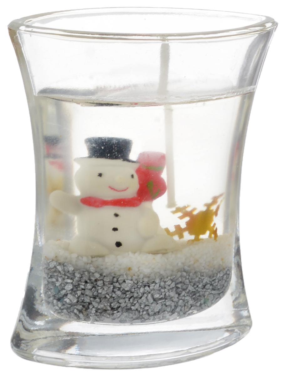 Свеча декоративная House & Holder Снеговик, высота 8 см. 1210GSS014PH3456Декоративная свеча House & Holder Снеговик изготовлена из геля. Изделие отличается оригинальным дизайном.Свеча помещена в подсвечник, выполненный из стекла. Такая свеча может стать отличным подарком или дополнить интерьер вашей комнаты.