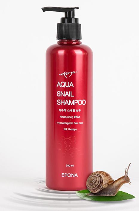 Epona Шампунь Aqua Snail, 300 млMP59.4DУлиточный шампунь, благодаря высокому содержанию - муцина, аллантоина, коллагена и эластина, интенсивно увлажняет, волосы и кожу головы, не создавая ощущение жирности, ускоряет рост волос.Придает блеск и объем волосам, не утяжеляя их, делает более струящимися.Шампунь защищает от неприятных запахов, предохраняет от негативного воздействия фена и окружающей внешней среды, помогает дольше сохранить цвет окрашенных волос. Шампунь подходит для всех типов волос.