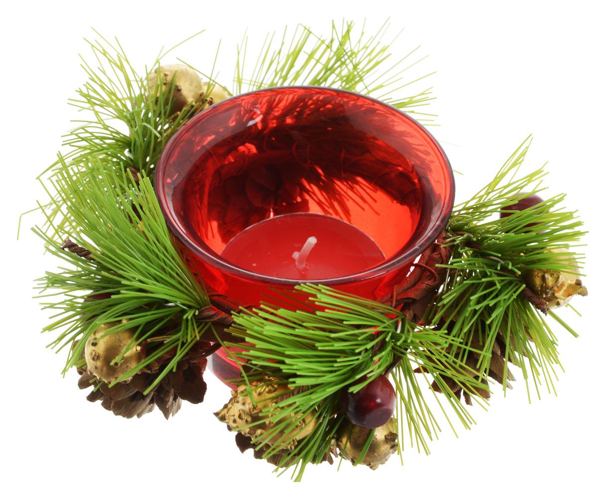 Подсвечник Lovemark, со свечой, цвет: красный, зеленый, золотистый. 5A1144Брелок для ключейПодсвечник Lovemark представляет собой стеклянную емкость для чайной свечи, оформленную изысканным декоративным элементом в виде хвойной веточки с шишками. Чайная свеча зеленого цвета входит в комплект. Такой подсвечник элегантно оформит интерьер вашего дома. Мерцание свечи создаст атмосферу романтики и уюта. Диаметр емкости (по верхнему краю): 6,5 см. Высота емкости: 4,5 см. Диаметр свечи: 3,5 см.
