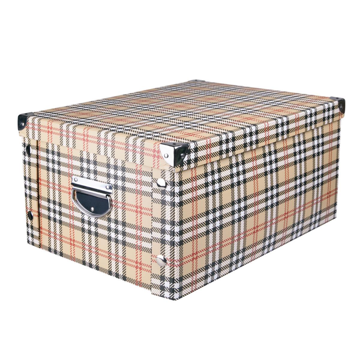 Коробка для хранения Miolla, 40 х 30 х 20 см. CFB-07370583Коробка для хранения Miolla прекрасно подойдет для хранения бытовых мелочей, документов, аксессуаров для рукоделия и других мелких предметов. Коробка поставляется в разобранном виде, легко и быстро складывается. Плотная крышка и удобные для переноски металлические ручки станут приятным дополнением к функциональным достоинствам коробки. Удобная крышка не даст ни одной вещи потеряться, а оптимальный размер подойдет для любого шкафа или полки.Компактная, но при этом вместительная коробка для хранения станет яркой нотой в вашем интерьере.