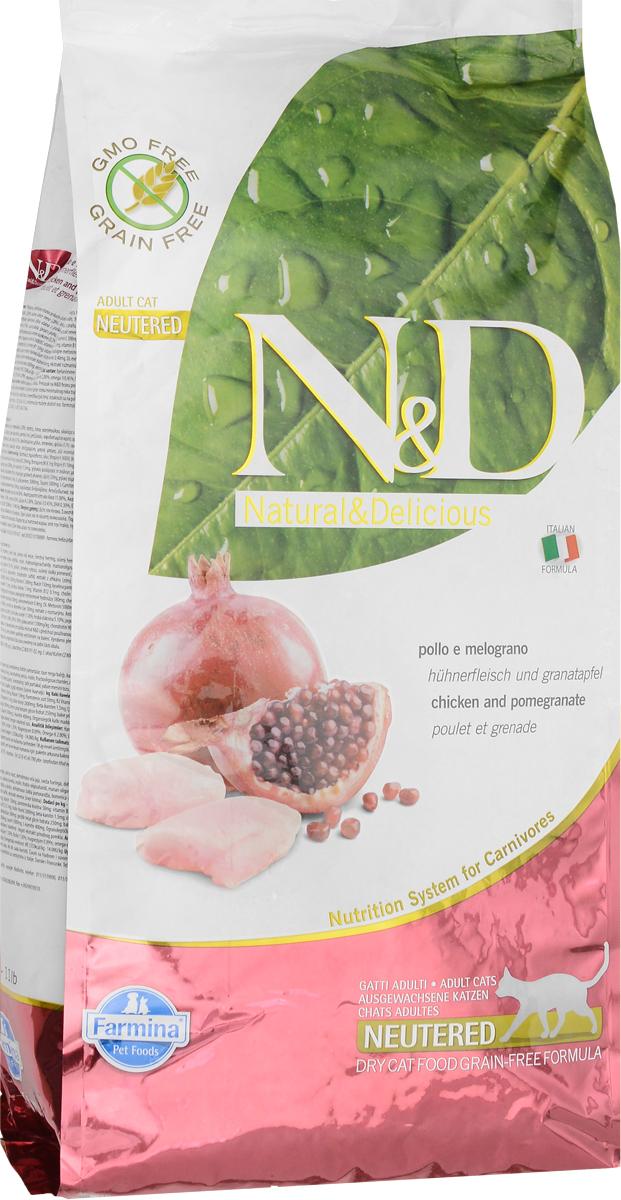 Корм сухой Farmina N&D для стерилизованных кошек и кастрированных котов, беззерновой, с курицей и гранатом, 5 кг0120710Сухой корм Farmina N&D - беззерновое полнорационное питание для стерилизованных кошек и кастрированных котов. Продукт имеет высокое содержание витаминов и питательных веществ. Сухой корм содержит натуральные компоненты, которые необходимы для полноценного и здорового питания домашних животных.Товар сертифицирован.