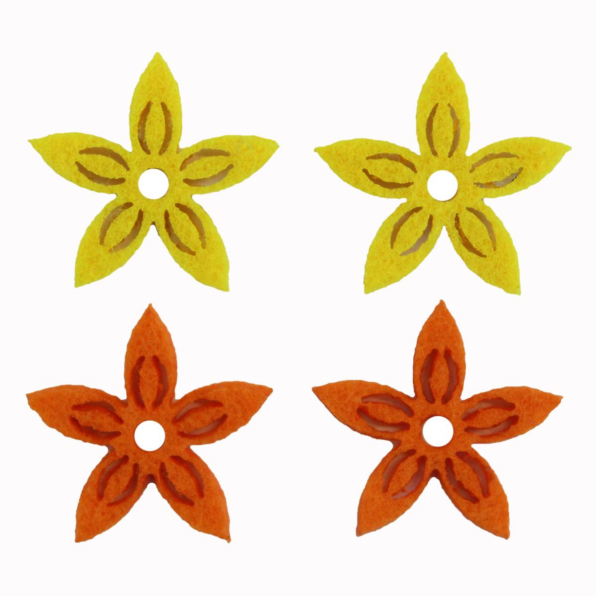 Фигурки из фетра Glorex Цветы, цвет: желтый, оранжевый, 3 см, 12 шт09840-20.000.00Фетр пользуется большой популярностью среди рукодельниц. Его любят за эстетичный вид, практичность и отличную текстуру. Из данного материала вашему вниманию предлагаются заготовки Glorex. Широкое разнообразие цветов и форм поможет реализовать творческие задумки и гармоничным образом дополнить ваше творение. Из фетра можно создавать обложки для книг, ежедневников, игрушки, декоративные чехлы для подушек и многое, многое другое.