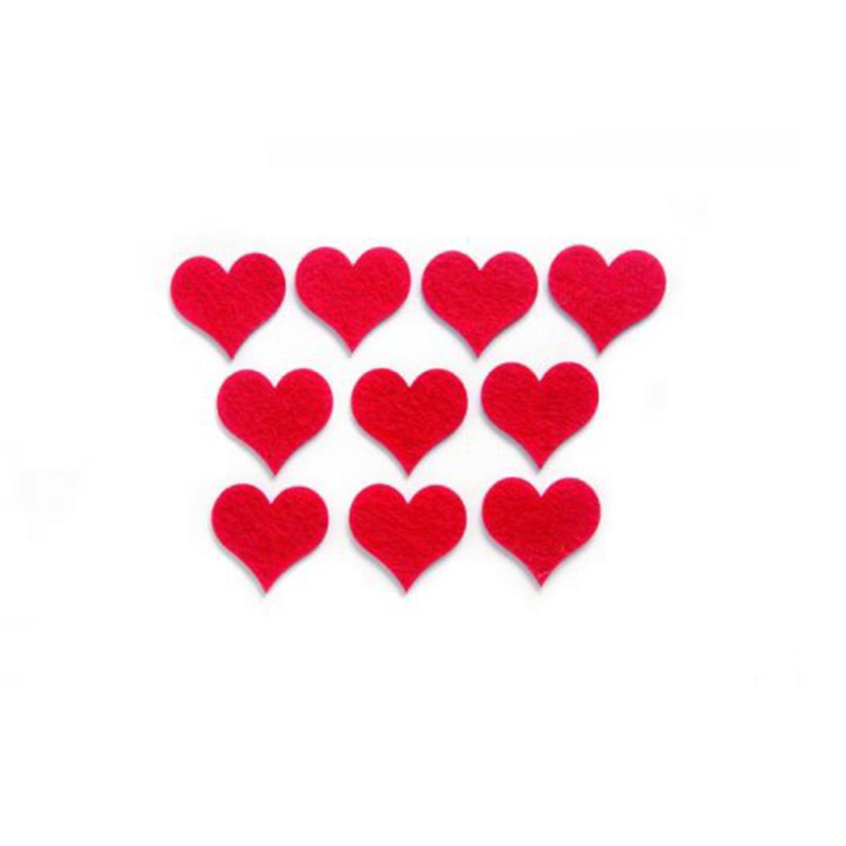 Фигурки из фетра Glorex Сердца, цвет: красный, 4 см, 10 штC0042416Фетр пользуется большой популярностью среди рукодельниц. Его любят за эстетичный вид, практичность и отличную текстуру. Из данного материала вашему вниманию предлагаются заготовки Glorex. Широкое разнообразие цветов и форм поможет реализовать творческие задумки и гармоничным образом дополнить ваше творение. Из фетра можно создавать обложки для книг, ежедневников, игрушки, декоративные чехлы для подушек и многое, многое другое.